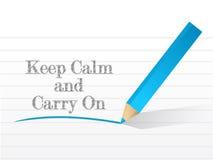 Guarde la calma y continúe escrito Imagen de archivo libre de regalías