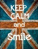 Guarde la calma y sonría Fotografía de archivo libre de regalías