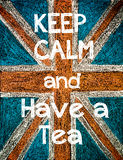 Guarde la calma y tenga un té Foto de archivo libre de regalías