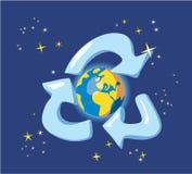 Guarde la tierra - para reciclar. Alegoría con el globo y el espacio Imagenes de archivo