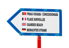 Guarded beach sign. In different languages (isolated on white background Stock Image