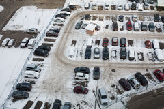 Guarded parking with many cars in winter Royalty Free Stock Photo