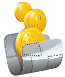 Guarded steel folder with money. Vector illustration Royalty Free Stock Photography