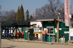 Guardhouse. From afar next to stadium under construction Stock Photo