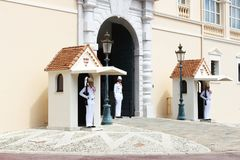 Guardhouse with carabiniers near Prince`s Palace of Monaco Royalty Free Stock Photo