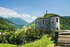 Guardhouse protecting the bridge. Over Idrijca river on Bohinj railway Royalty Free Stock Image