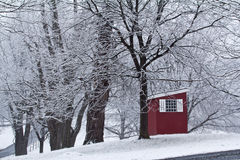 Guardhouse in the snow Royalty Free Stock Photography
