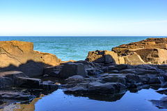 Guardhouse stone. Rock formation known as stone Guardhouse located in Torres, the northern coast of Rio Grande do Sul Stock Images