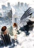 Guardião Angel Over The City Imagens de Stock