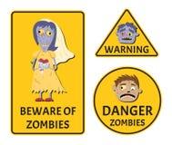 Guardi da degli zombie che avvertono gli autoadesivi messi royalty illustrazione gratis