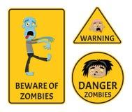 Guardi da degli zombie che avvertono gli autoadesivi messi illustrazione vettoriale