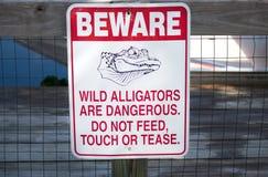 Guardi da del segno degli alligatori Fotografia Stock Libera da Diritti