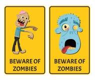 Guardi da dell'autoadesivo degli zombie messo con il mostro illustrazione di stock