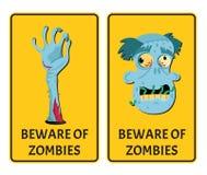 Guardi da delle etichette degli zombie con le parti del corpo del mostro illustrazione di stock
