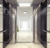 Guardi dall'elevatore al corridoio con gli appartamenti Fotografie Stock
