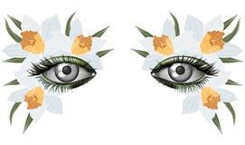 Guardi della molla, trucco artistico dell'occhio fotorealistico Immagini Stock Libere da Diritti