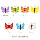 Guardi e scriva Farfalle multicolori I bambini esprime l'apprendimento del gioco, fogli di lavoro con i grafici variopinti sempli illustrazione vettoriale