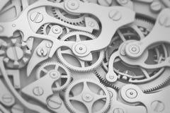 Guardi l'illustrazione di gradazione di grigio 3D del meccanismo con gli ingranaggi ed il dof Immagini Stock