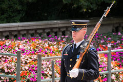 Guardia cerimoniale alla tomba dello sconosciuto alla nazione di Arlington fotografia stock libera da diritti