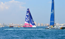 Sailing Guardia Civil Boat Overtaken By Racing Yacht Stock Photos