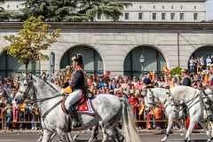 Guardia Civil cavalry marching in Spanish National Day Army Para. Madrid, Spain - October 12, 2017: Guardia Civil calvary marching in Spanish National Day Army Stock Photo