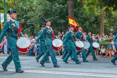 Guardia Cywilna parada w Malaga, Hiszpania Zdjęcie Stock