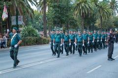Guardia Cywilna parada w Malaga, Hiszpania Zdjęcia Royalty Free