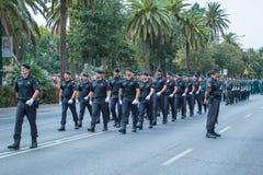 Guardia Cywilna parada w Malaga, Hiszpania Fotografia Stock