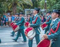 Guardia Cywilna parada w Malaga, Hiszpania Fotografia Royalty Free