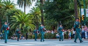 Guardia Cywilna parada w Malaga, Hiszpania Obraz Stock