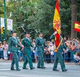 Guardia Cywilna parada w Malaga, Hiszpania Obrazy Royalty Free