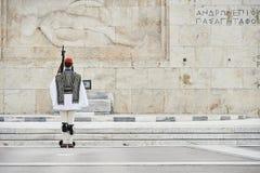 Guardia de Evzones del honor delante de la tumba del soldado desconocido Imágenes de archivo libres de regalías