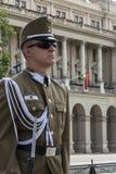 Guardia de honor - edificio del parlamento - Budapest Foto de archivo