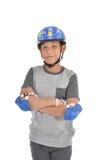 Guardia de la seguridad del muchacho que lleva asiático feliz Fotografía de archivo