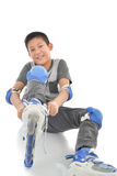 Guardia de la seguridad del muchacho que lleva asiático feliz Imagen de archivo