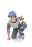 Guardia de la seguridad del muchacho que lleva asiático feliz Fotografía de archivo libre de regalías
