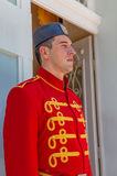 Guardia de palacio azul de Cetinje Fotos de archivo libres de regalías