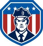 Guardia de seguridad americano Flag Shield Retro Imágenes de archivo libres de regalías