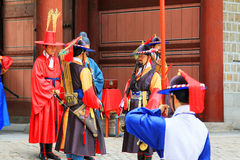 Guardia del palazzo di Deoksugung Fotografie Stock