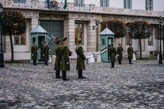 Guardia del presidente delante del castillo de Budapest Foto de archivo