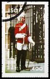 Guardia del soldado, dedicado a la reina Elizabeth II del jubileo de plata, serie, circa 1977 fotografía de archivo