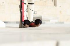 Guardia di Evzones del Greco davanti alla casa del Parlamento Fotografia Stock Libera da Diritti