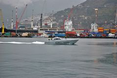 Guardia di Finanza in the port of Salerno stock images