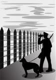 Guardia di frontiera con la siluetta del cane, illustrazione di vettore royalty illustrazione gratis