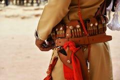 Guardia locale in Petra Jordan fotografie stock libere da diritti