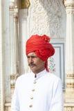 Guardia nel palazzo della città di Jaipur, Ragiastan Immagini Stock