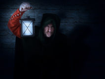 Guardia notturna di notte con una lanterna Fotografia Stock Libera da Diritti