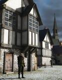 Guardia notturna medioevale della città Immagini Stock