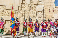 In Guardia Parade at St. Jonh's Cavalier in Birgu, Malta. Royalty Free Stock Images