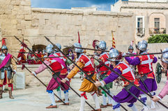 In Guardia Parade at St. Jonh's Cavalier in Birgu, Malta. Stock Images